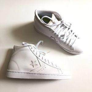 Converse Pro Leather Triple White Mid Top Sneakers